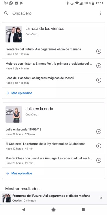 Canales de una emisora en Podcasts de Google