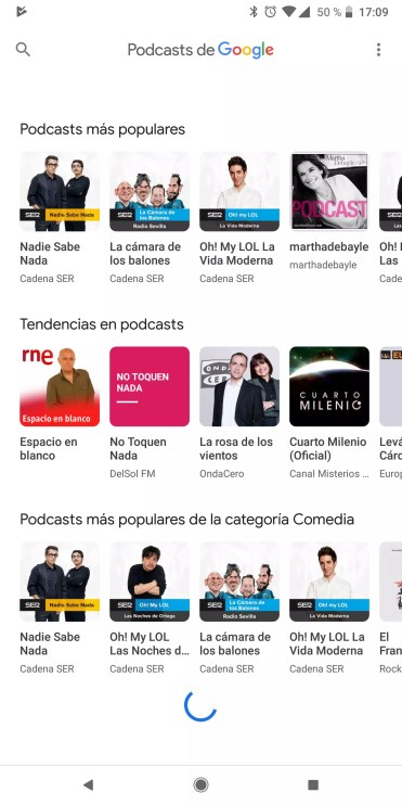 Interfaz de usuario de Podcasts de Google