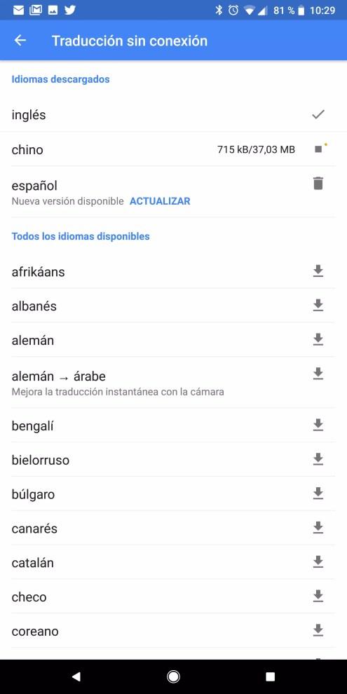 Listado idiomas Traductor de Google