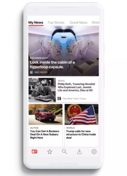 Interfaz de Microsoft News