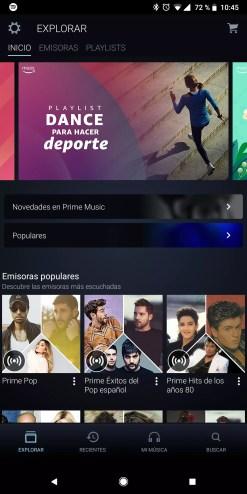 Aplicación con Amazon Prime Music