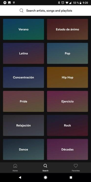 Busquedas en la aplicación Spotify Lite