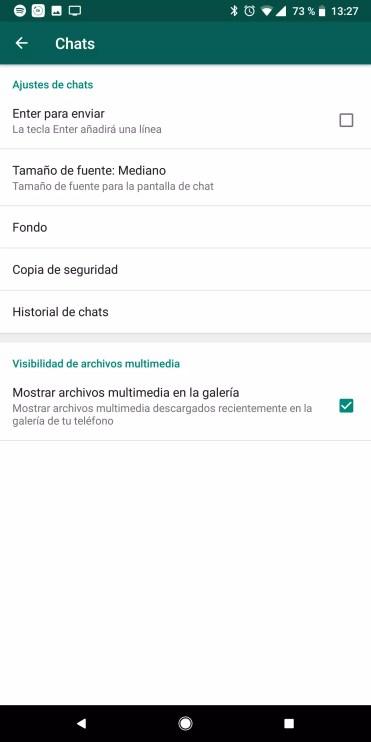 Menú Ajustes copia de seguridad de WhatsApp