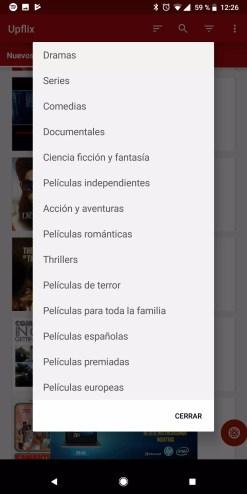 Filtros al utilizar Upflix para Netflix