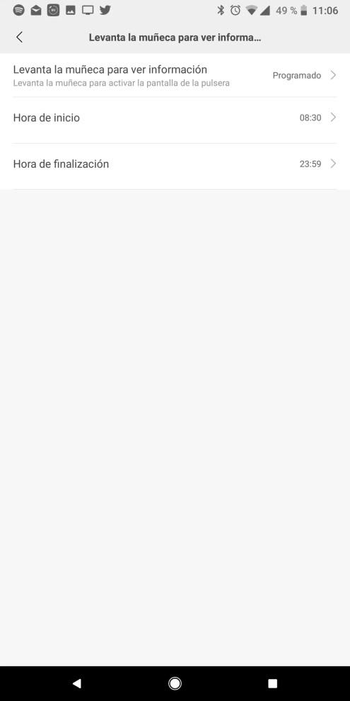 Hora actividad en la pulsera Xiaomi Mi Band 3