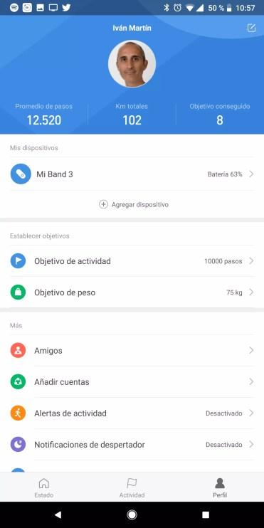 Información personal de la Xiaomi Mi Band 3