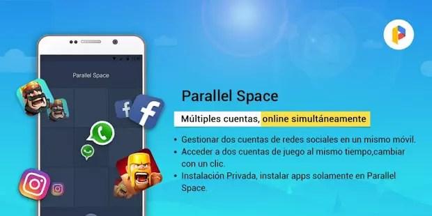 Parallel Space para Usar dos cuentas de WhatsApp