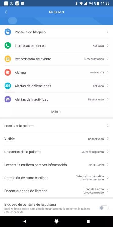 Opciones configuración Xiaomi Mi Band 3