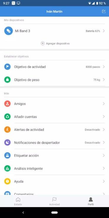 Opciones de configuración de la Xiaomi Mi Band 3