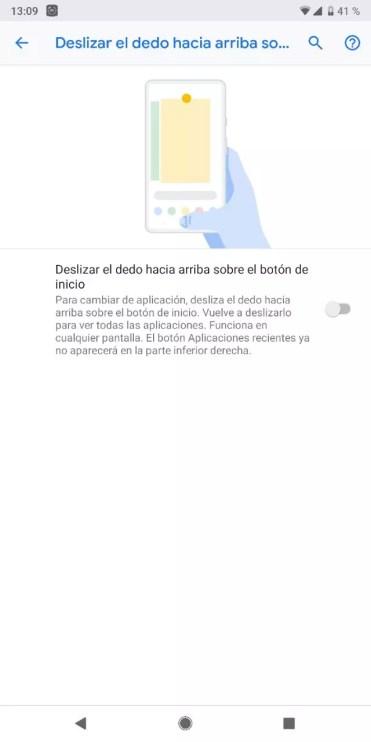 Activar gestos en Android Pie