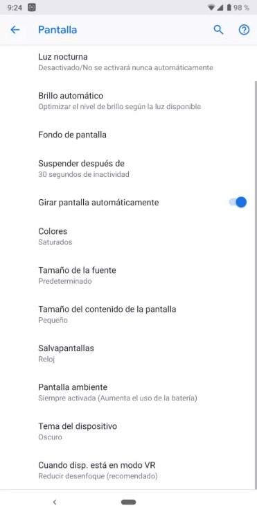 Opciones pantalla Android Pie