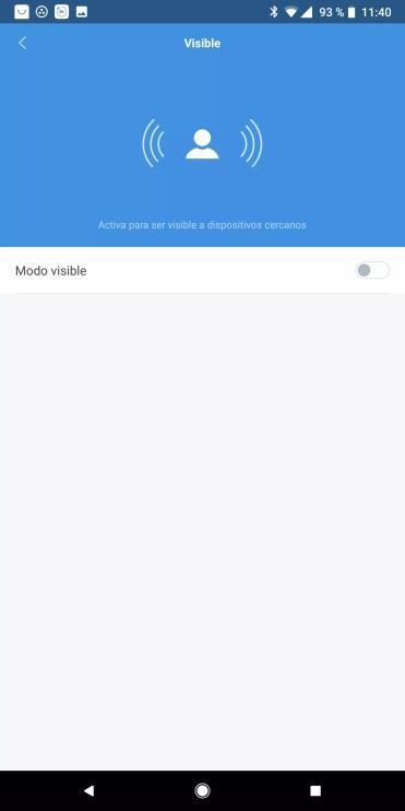 Opciones dipsonibles al ser visible en Xiaomi Mi Band 3