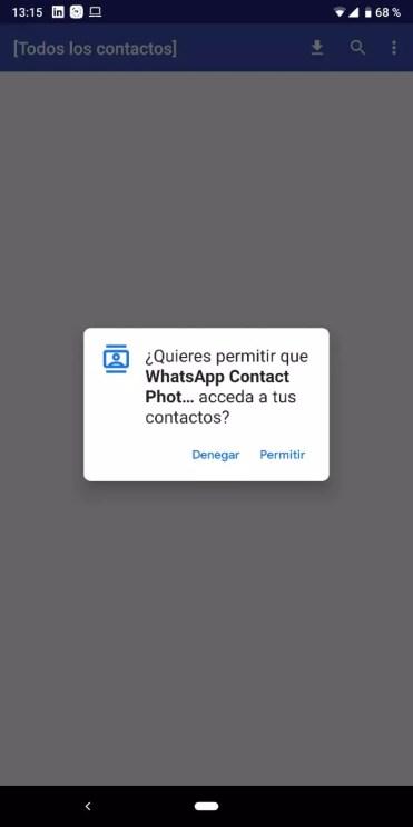 Permisos pedido por la aplicación Contactos foto Sync