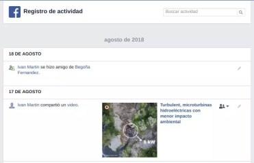 Registro actividad Facebook