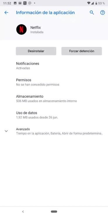 Ajustes aplicación Netflix en Android