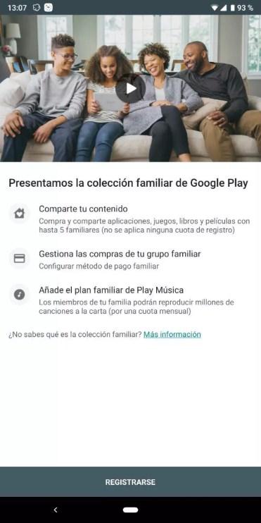 Comenzar alta cuenta familiar en Play Store
