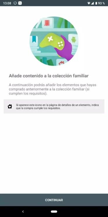 Añadir contenido en cuenta familiar en Play Store