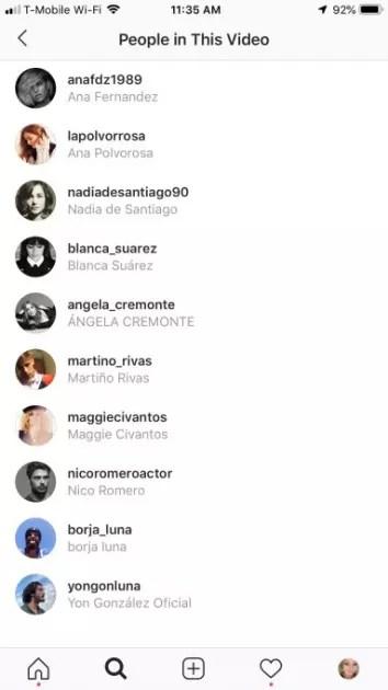 Lista de amigos etiquetados en vídeos de Instagram