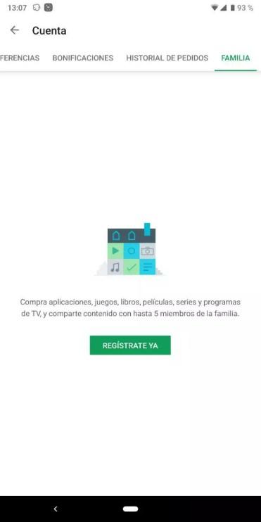 Registrar una cuenta familiar en Play Store