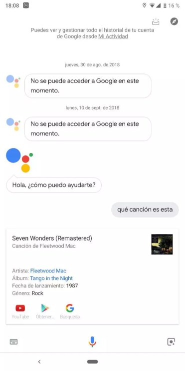 Barras de reconocimiento Sound Search Google Assistant