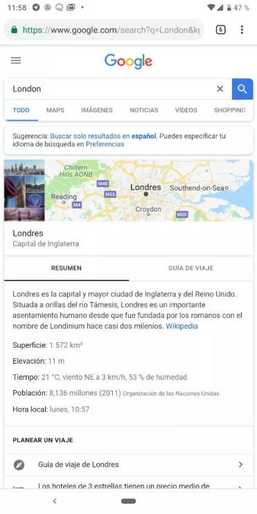 Texto traducido en Google Fotos