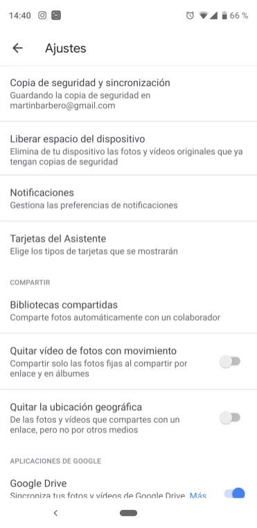 Ajustes de la aplicación Google Fotos