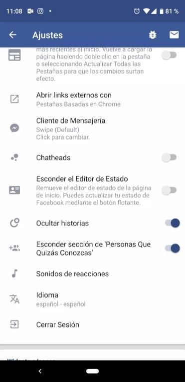Ocultar historias Facebook