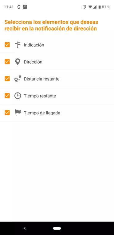 Visualización en pantalla de la aplicación Mi Band Maps