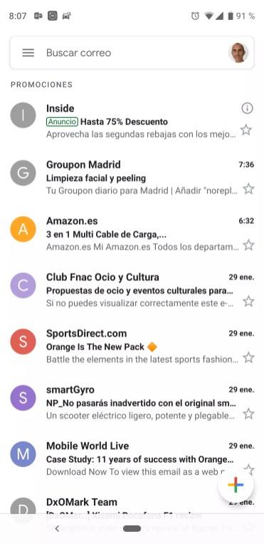 Nueva interfaz de la aplicación Gmail