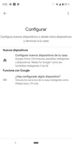 Opciones de alta en el asistente de Google