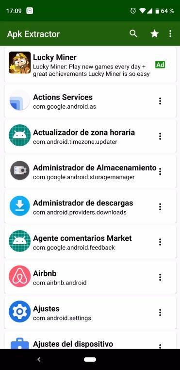 Lista de aplicaciones en APK Extractor para Android