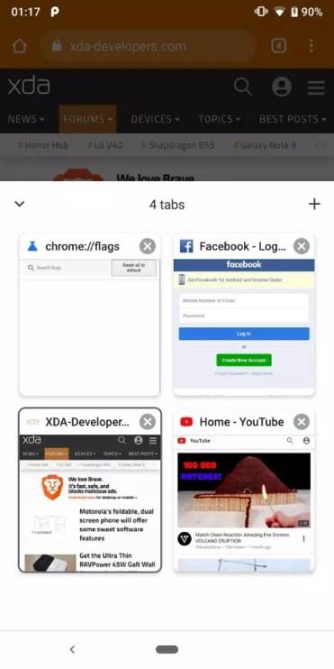 Pestañas abiertas en Chrome para Android