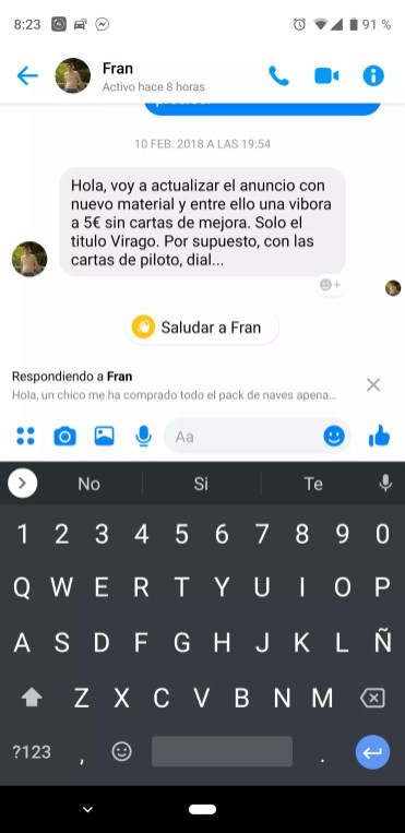 Escribir respuesta en Facebook Messenger