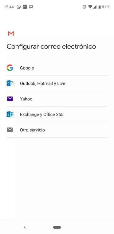 Lista de servicio Outlook en Gmail