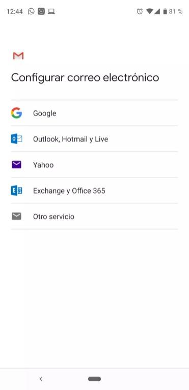 Lista de servicio Outlook en Gmail