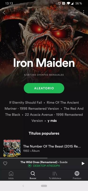 Selección de artista en Spotify