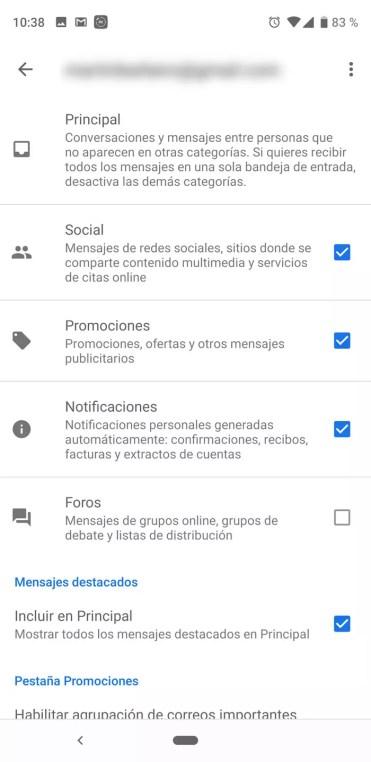 Categorías existentes en Gmail