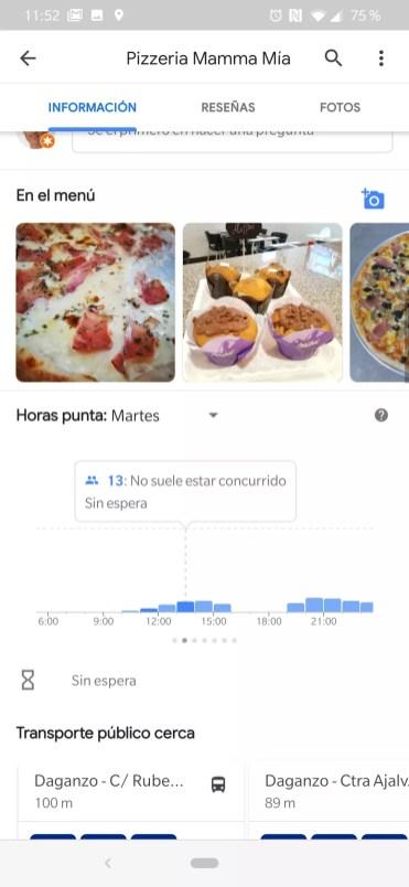 Horas Google Maps
