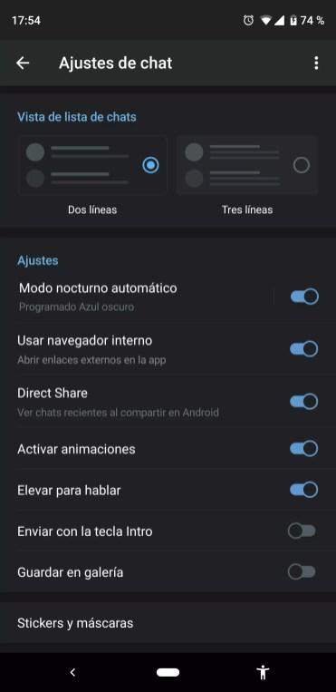 opciones modo oscuro en Telegram