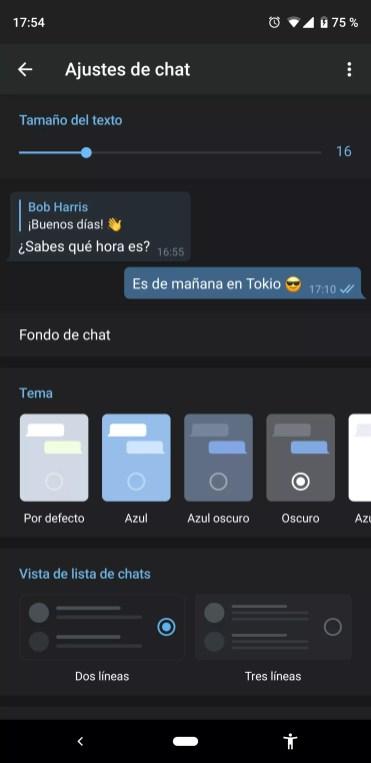 Interfaz oscura de Telegram