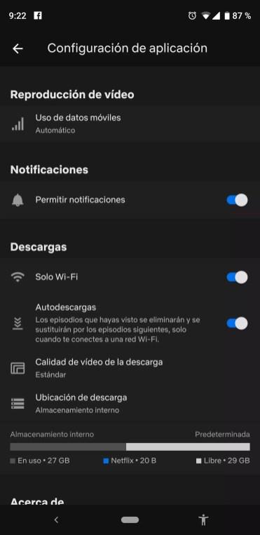 Gestión de descargas en la aplicación de Netflix