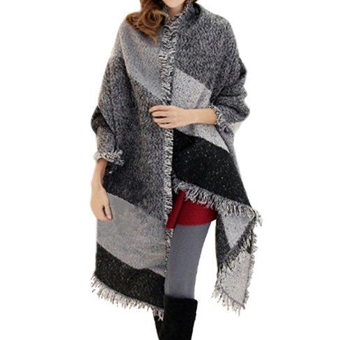 FENTI Damen Maedchen Langer Schal 250cm*70cm Deckenstoffschal Schalcape Winter Schal mit Fransen und spitzen Enden XXL