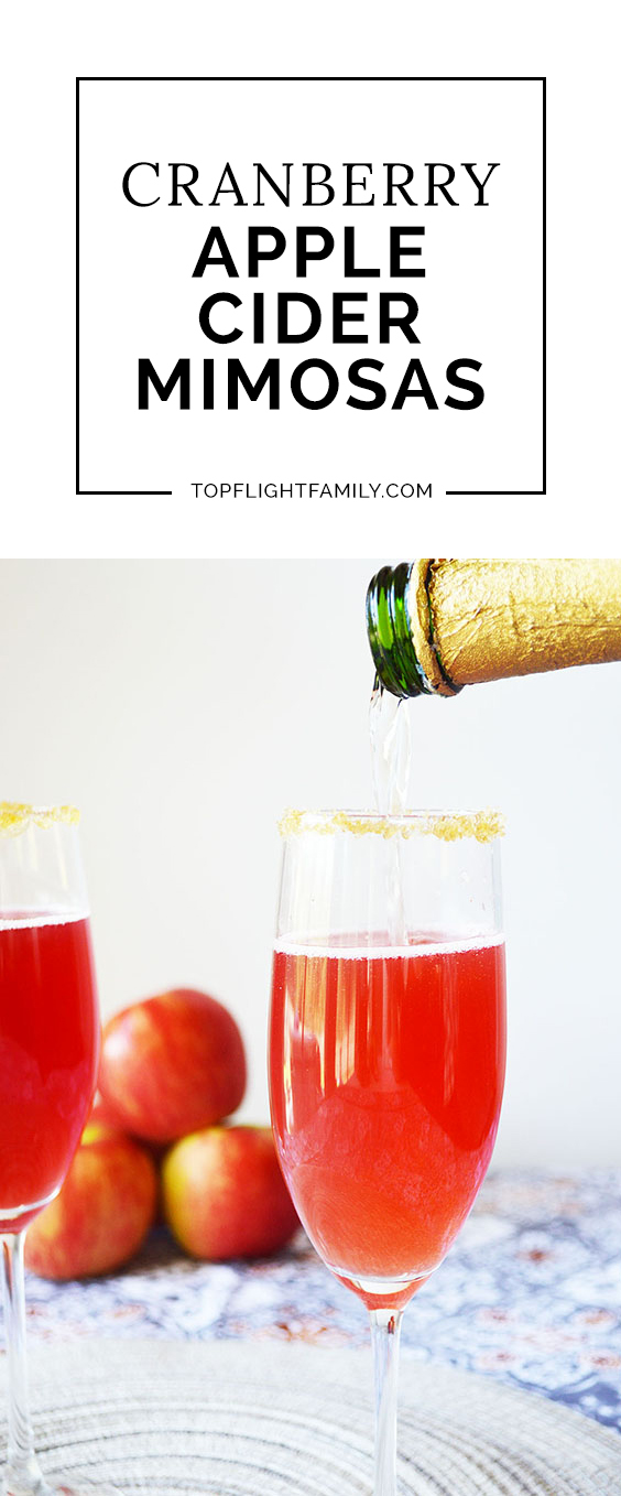 Add a fall-themed twist to your mimosa with this delicious recipe for Apple Cider Cranberry Mimosas! Your brunch guests will love it.