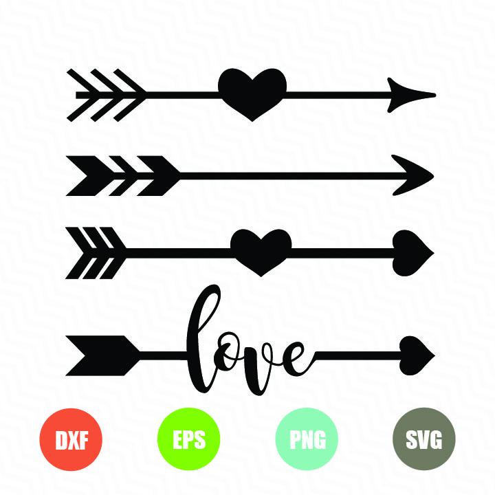 Arrows with hearts love arrow