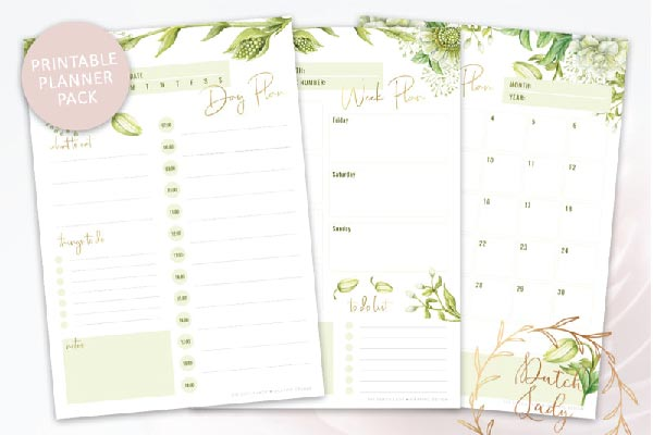 free daily planner pack