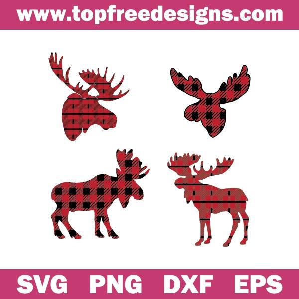 Free Moose Buffalo Plaid SVG for cricut