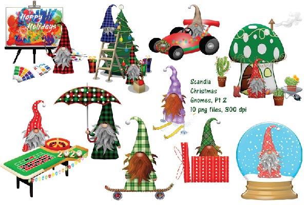 Cute Scandia Gnome Christmas  Clip Art