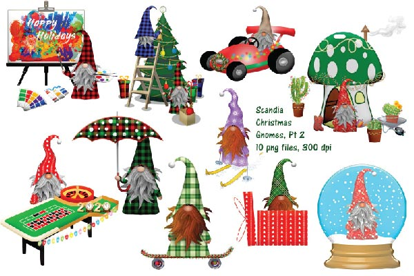Cute Scandia Gnome Christmas  Clip Art