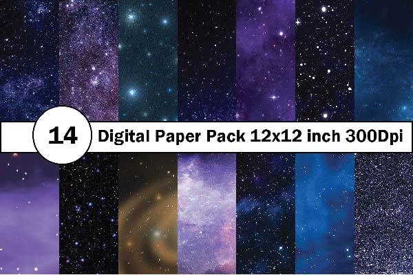Galaxy design of scrapbook digital paper.