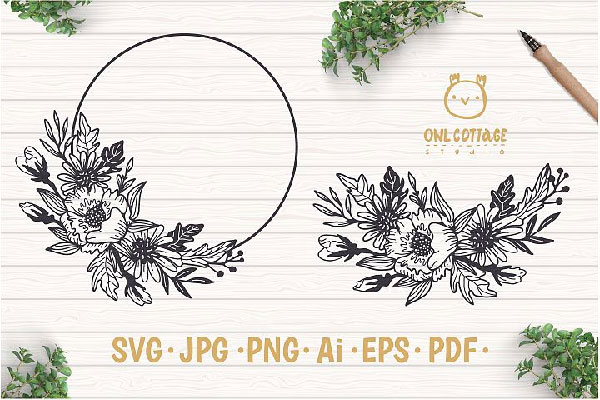 free Flower Wreath SVG